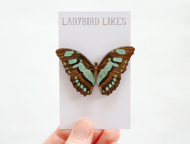 Maisie Wooden Butterfly Brooch
