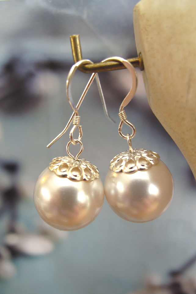 Pearl Coloured 'Oyster' Earrings