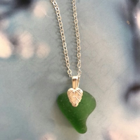 Green Sea glass pendant with sterling silver chain