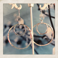 Sterling Silver Hammered Two Hoop Earrings