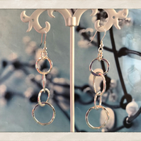 Sterling Silver 5 Hoop Hammered Earrings