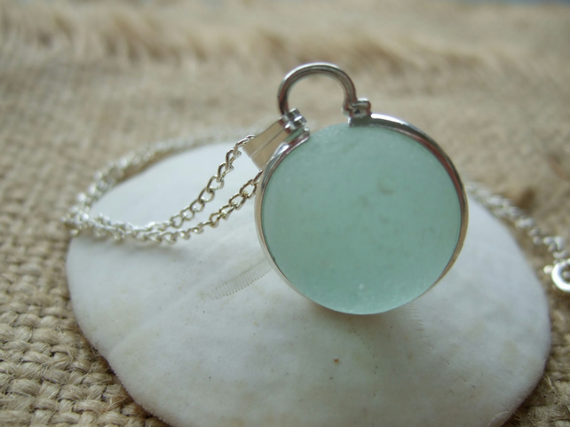 Sea glass codd marble necklace, silver plated b... - Folksy