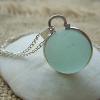 Sea glass codd marble necklace, silver plated bezel, sea glass marble necklace