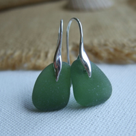 Sterling silver sea glass earrings, Scottish sea glass green, wave shaped