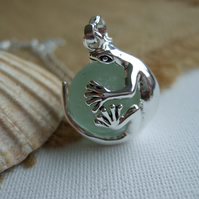 Sea glass marble gecko necklace, silver plated lizard pendant, unique gift