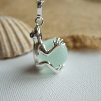 Sea glass marble frog necklace, silver plated frog pendant, unique gift