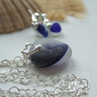 Blue Seaham sea glass earring and necklace set, ocean blue sea glass jewelry set
