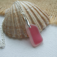 Scottish pink sea glass jewelry, sterling silver pink beach pendant, wave design