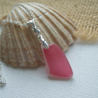 Scottish pink sea glass jewelry, sterling silver pink beach pendant, drop design