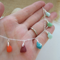 "Seaham Milk Sea Glass Necklace, Sterling Silver 18"" Rainbow Colours"