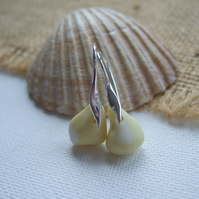 Pastel Yellow Seaham sea glass earring, yellow white sea glass earrings, 1950s