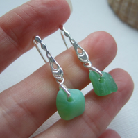 Pastel Green Seaham sea glass earring, Jadeite sea glass, sterling silver