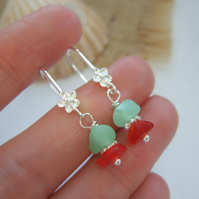 UV and red sea glass earrings, flower design sterling silver Seaham
