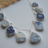 Scottish sea pottery necklace, beach pottery jewellery, blue willow 18""