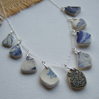 Scottish sea pottery necklace, beach pottery jewellery, blue texture 18""