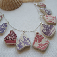 "Scottish sea pottery necklace, purple red beach pottery jewelry, 18"" sterling"