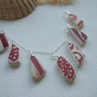 Scottish sea pottery necklace, beach china red patterns necklace, unique