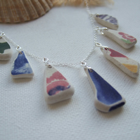 Scottish sea pottery necklace, beach china colorful patterns necklace, unique