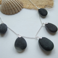 Seaham Secret Sea Glass, Layered Beach Glass, Multi Pendant Necklace