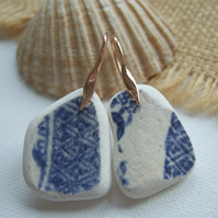 Scottish sea pottery blue jewellery, Dangling Rose Gold on Sterling Silver Hooks