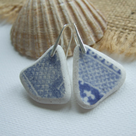 Scottish sea pottery blue jewelry, blue willow pattern sterling silver pottery