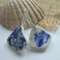 Scottish sea pottery blue jewellery, rose meadow pattern sterling silver pottery