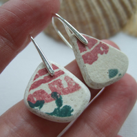 Scottish sea pottery jewellery, Red Green pattern sterling silver pottery
