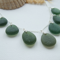 "Seaham green sea glass necklace, beach glass multi pendant necklace 18"" sterling"