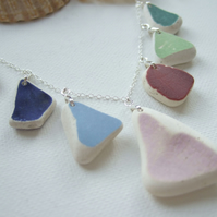 "Scottish sea pottery necklace, beach pottery, rainbow necklace 18"" sterling"