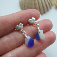 Davenport Sea Glass, Heart Stud Earrings with Blue White Beach Glass