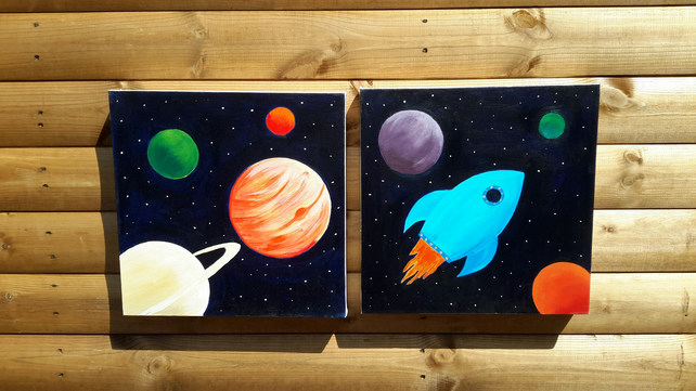 Original painting Planets and rocket set of two canvases