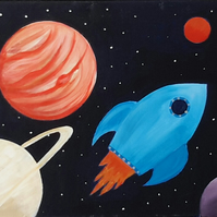 Original painting Planets and rocket canvas large