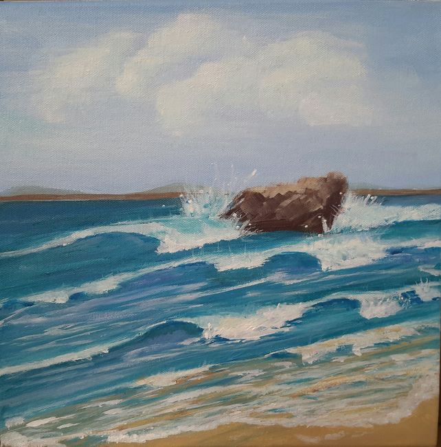 Original painting crashing waves at Broadhaven