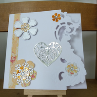 Hand made marbled paper flower card