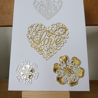 Gold mirrored love wedding day card