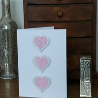 Handmade marbled paper mini hearts Valentine's day ay card