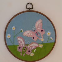 Butterflies and daisies embroidered 8 inch hoop