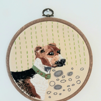 Hand embroidered pet portrait available to order