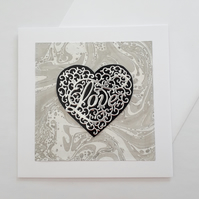 Handmade marbled paper heart love card