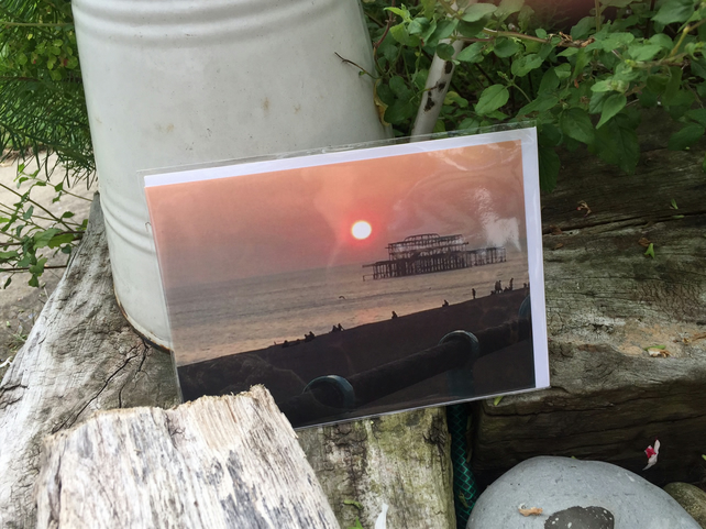 Greetings Card, notelet - 'Brighton Pier-ing at the moon'