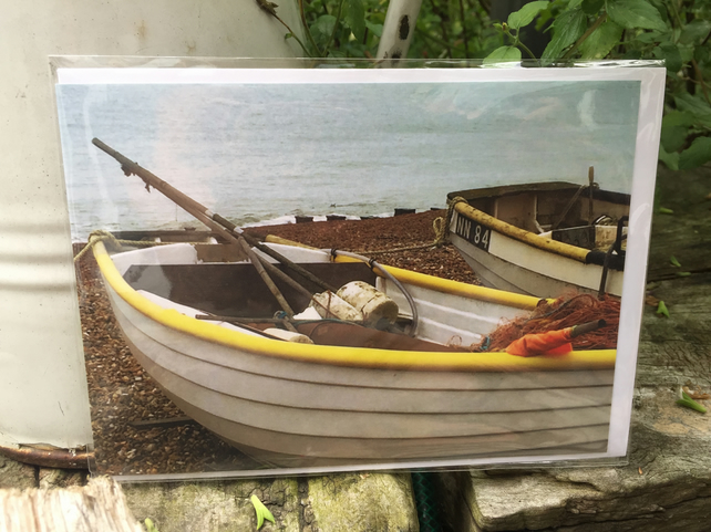Taking a Break - Blank Greeting Card - (boat by the sea)