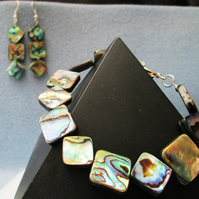 Abalone shell bracelet and earrings set.