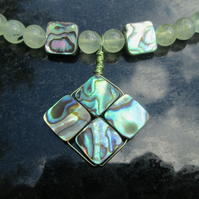 Prehnite and abalone necklace