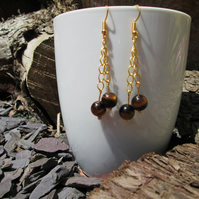 Natural tiger's eye chain drop earrings