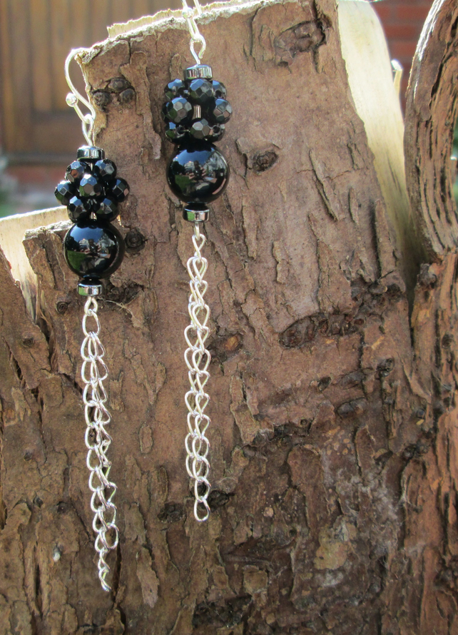 Black onyx and haematite with silver plated chain earrings.