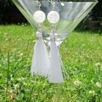 Crackle quartz tassel earrings.