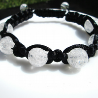 Crackled quartz shamballa style bracelet