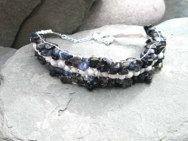 Iolite and Magnesite loom bracelet.
