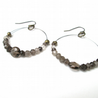 Smokey Quartz circular earrings