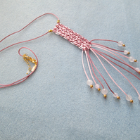 Rose Quartz and satin cord macrame waterfall necklace